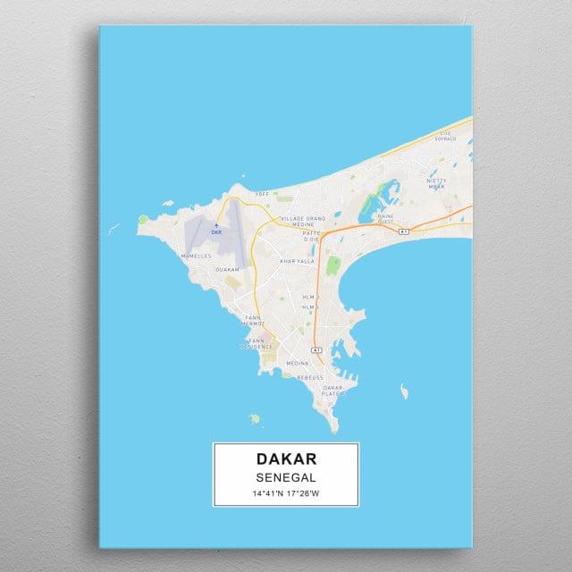 Dakar map Maps Poster Print | metal posters - Displate on paris-dakar route map, rally usa map, 2014 dakar rally raid map, rallye de dakar map, dakar world maps, dakar on facebook, dakar africa, dakar map island, songhai tribes map,