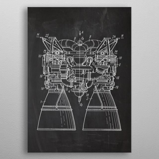 RD-253 Liquid-propellant rocket engine metal poster