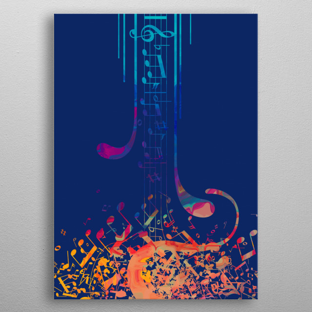 I love musical notes #5 metal poster