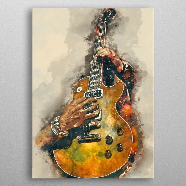Slash's  guitar, second version. Hand painted digital music poster caricature image with photoshop effects. Best gift for every rock music lovers. Decorate your wall with the caricatures of guitars used by rock, metal and blues icons! metal poster