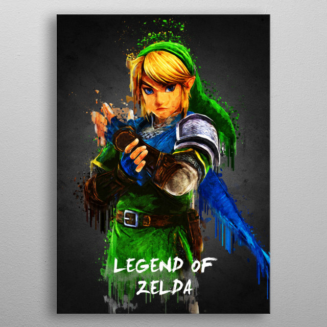 Legend of Zelda with Acrylic effects, done using Adobe Photoshop metal poster