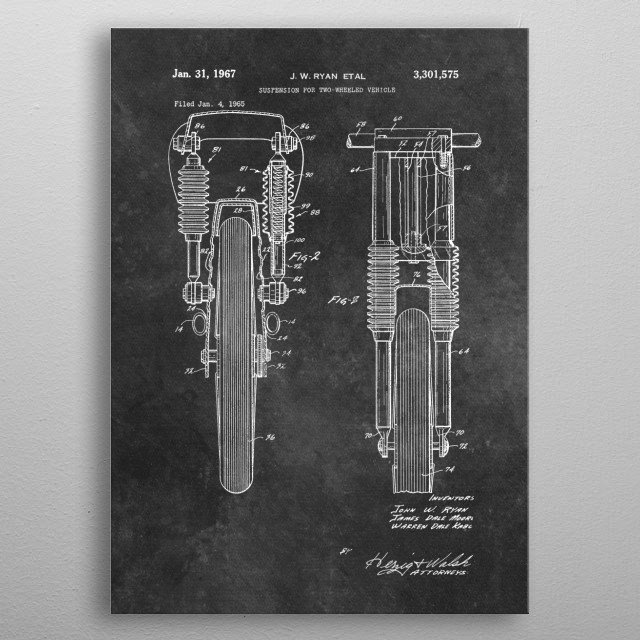 Ryan 1967 suspension for two wheeled vehicle metal poster