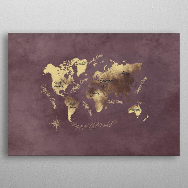 world map rose brown gold  metal poster