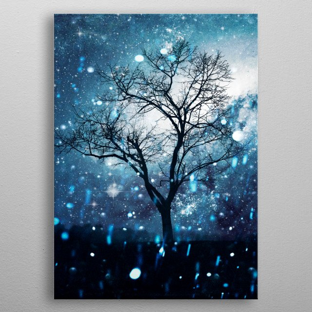Surreal night scene with a bare tree in front of a dark blue sky with stars and a galactic nebula metal poster