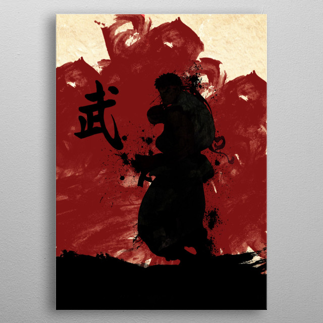 Red Ryu With Warrior Kanji metal poster