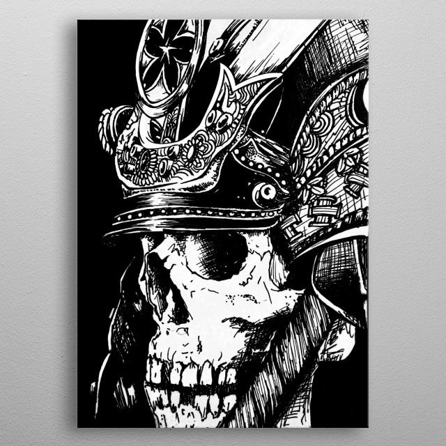 zamurai skull metal poster