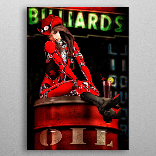 Cowboy boots and cowboy hat Red Robot takes a break from line dancing and billiard to enjoy a mixed drink of oil with a twist. Art by Bob Ors... metal poster