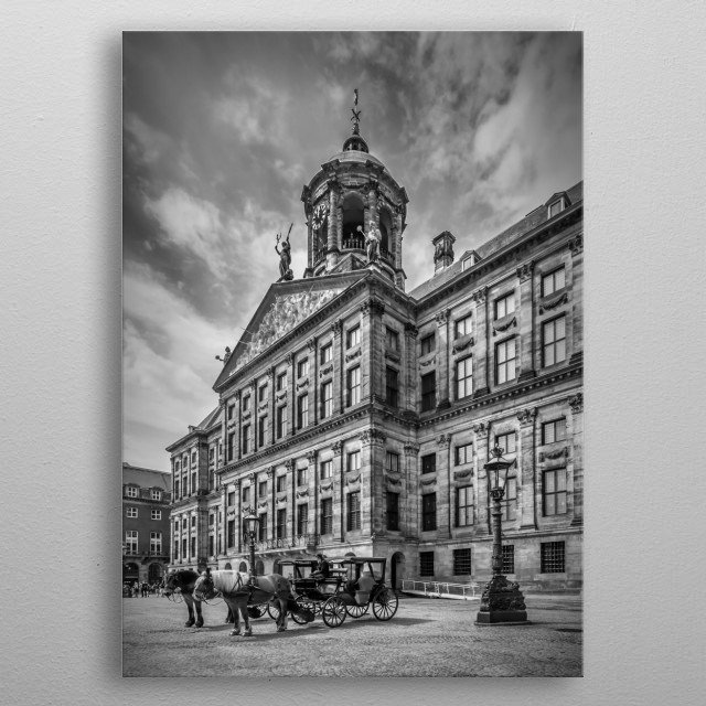 The Koninklijk Paleis is the Royal Palace of Amsterdam. It is situated on the west side of Dam Square in the city centre. It was built as a c... metal poster