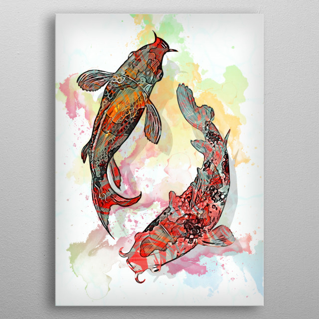 Koi Fishes metal poster