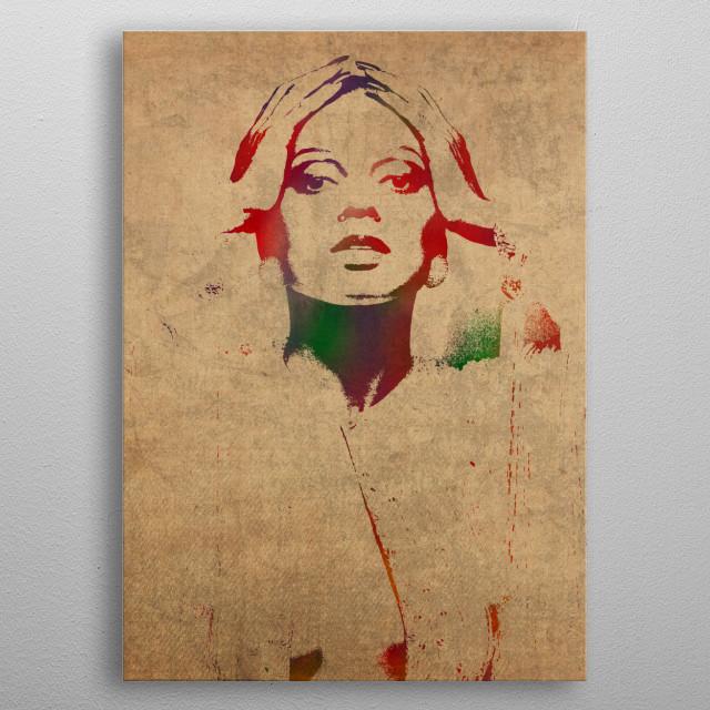 Diana Ross Watercolor metal poster