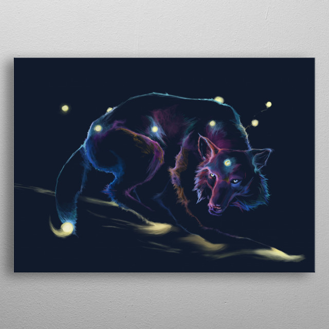 Walking through space and time. metal poster