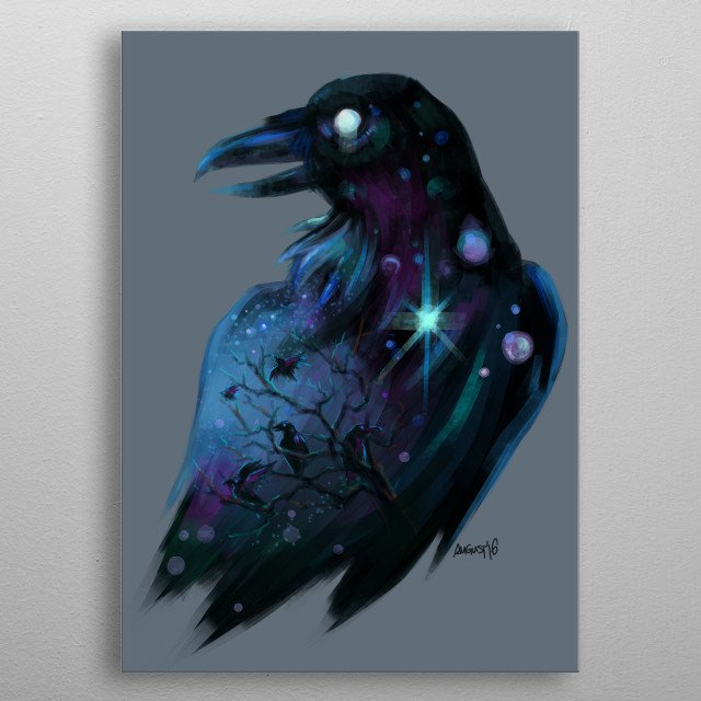 Magical raven, all-seeing raven. Painted in Clip Studio Paint metal poster