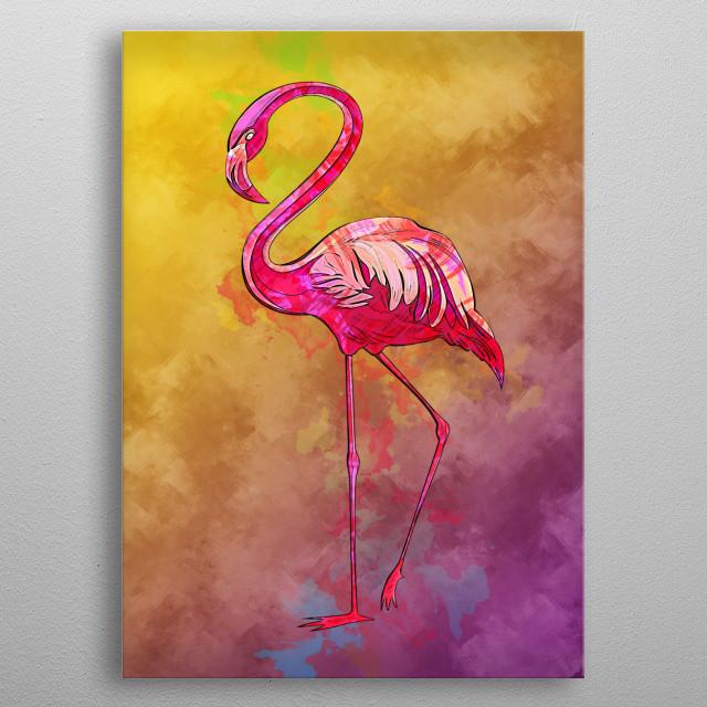 Flamingo metal poster