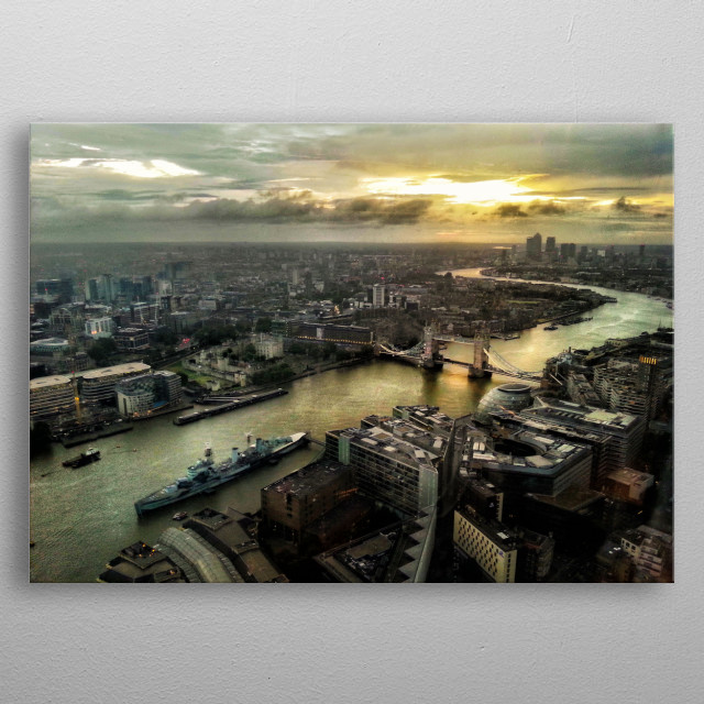 London from Shard, early in the morning.  metal poster