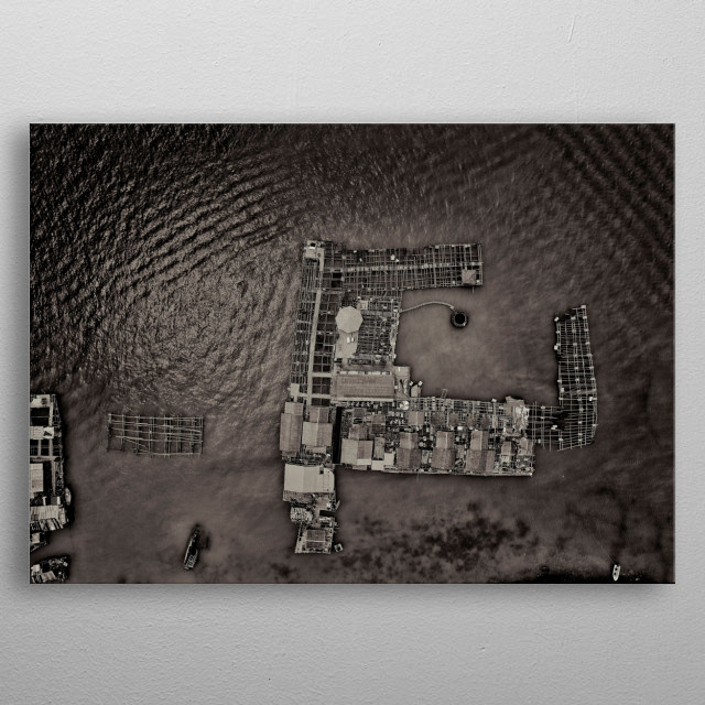 monochrome photography of fishing boat at pier drone view of the sea from above in black and white metal poster