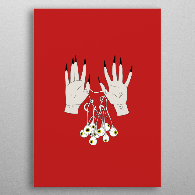 Creepy Hands Holding Eyes metal poster