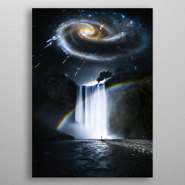 A galactic explosion above the amazing Skógafoss waterfall in Iceland. metal poster