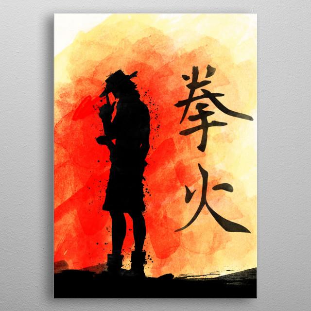Portgas with kanji hiken metal poster