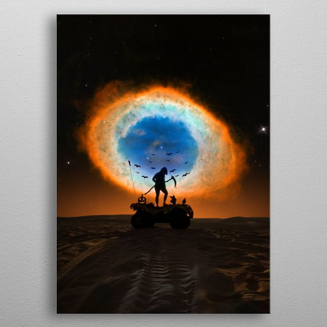 The Grim Reaper, which has an ATV addiction, summons a galactic Halloween treat.  metal poster