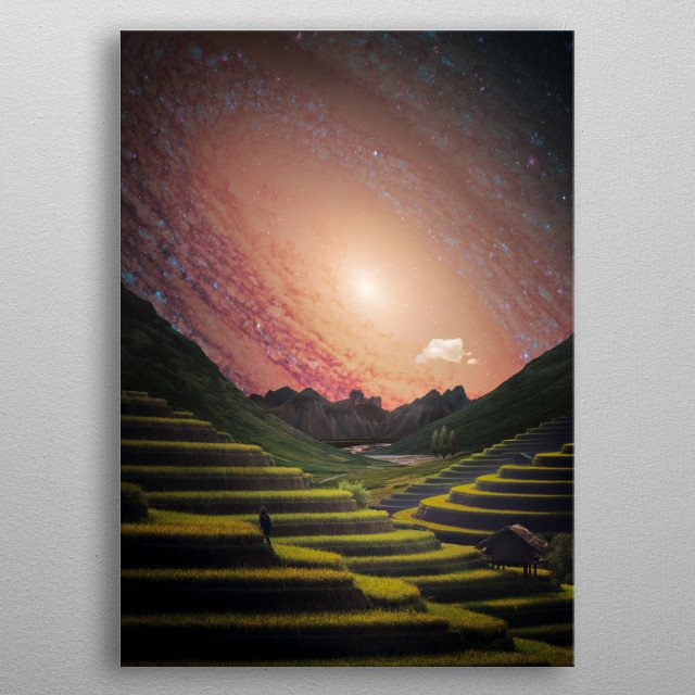 A rice terrace leading your eyes into a beautiful castle and galactic sky. metal poster