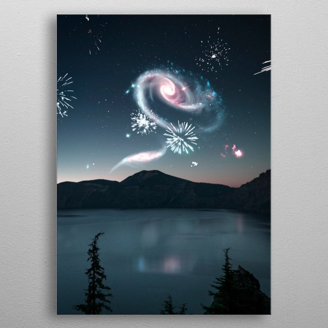 A galactic party above Crater Lake, Oregon.  metal poster
