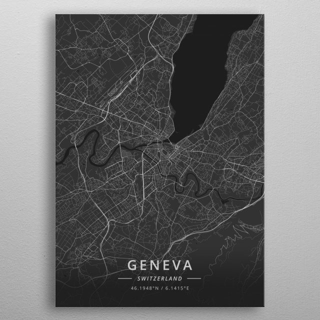 High-quality metal print from amazing City Maps Dark collection will bring unique style to your space and will show off your personality. metal poster