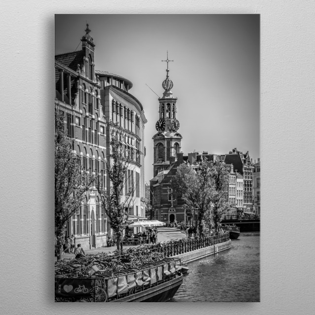 The Munttoren (Mint Tower) is a tower in Amsterdam, the Netherlands, which was originally part of the Regulierspoort, one of the main gates i... metal poster