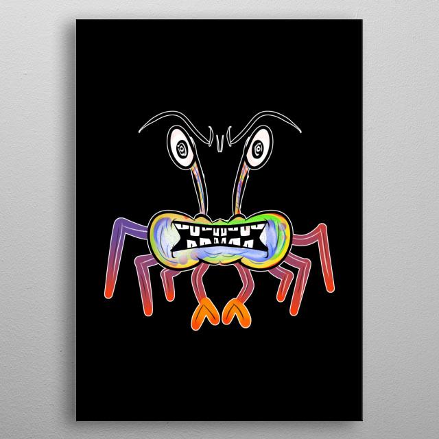Angry Monster Crab metal poster