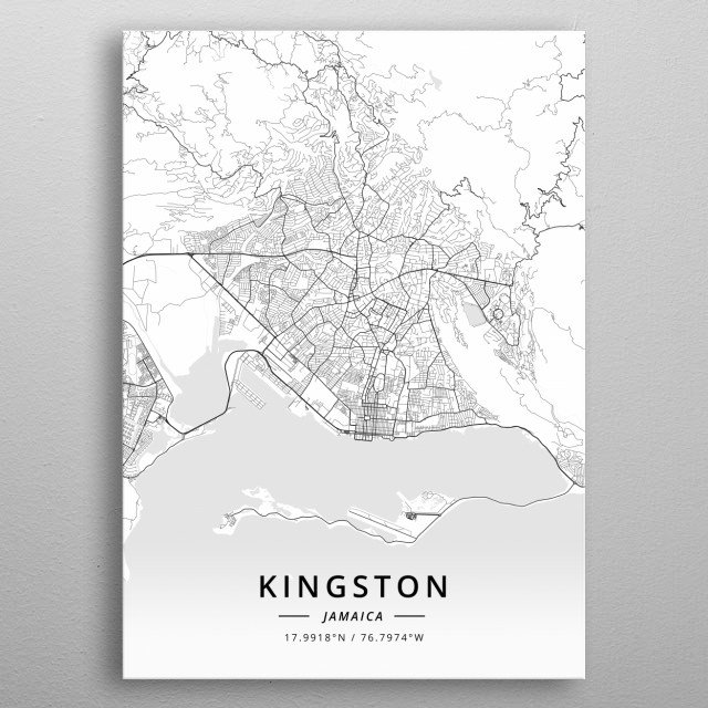 Peachy Kingston Jamaica By Designer Map Art Metal Posters Displate Download Free Architecture Designs Scobabritishbridgeorg