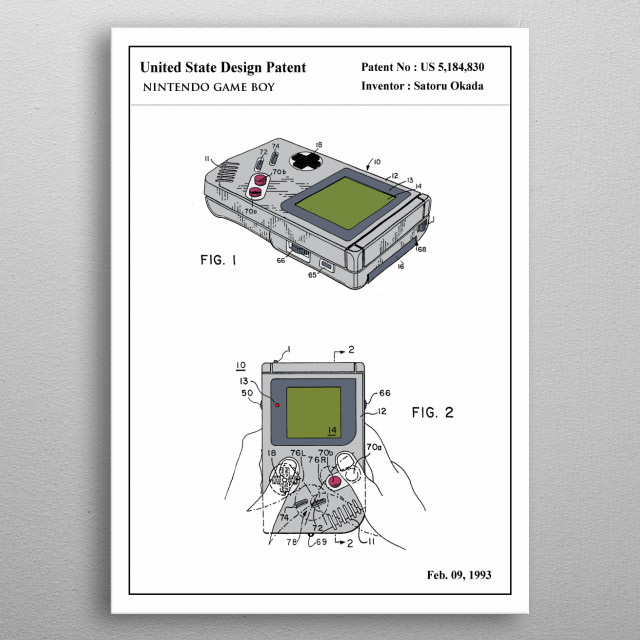 the color patent of an iconic toy: Game Boy. This limited design will look stunning on your wall, it's guaranteed to impress all your guests.   metal poster