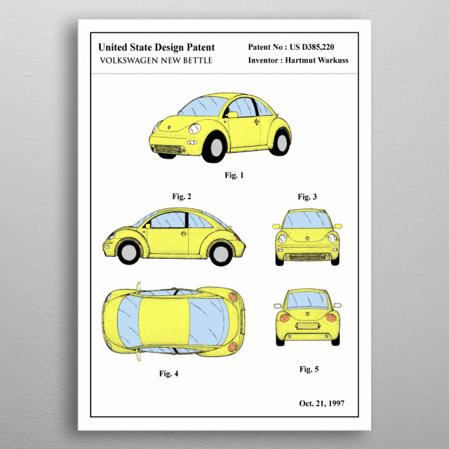 The color patent of an iconic car: Volkswagen New Bettle. This limited design will look stunning on your wall, it's guaranteed to impress all your guests.   metal poster