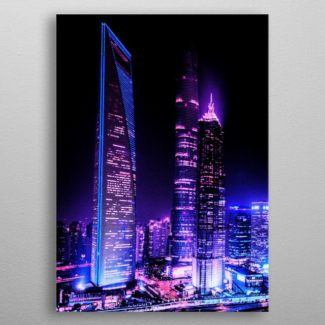 High-quality metal print from amazing Cyber City collection will bring unique style to your space and will show off your personality. metal poster