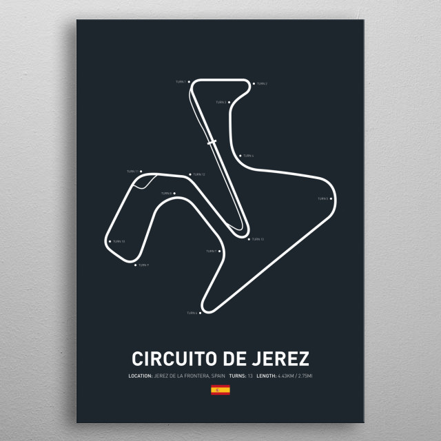 Circuito de Jerez a circuit in Spain on the 2018 MotoGP calendar. metal poster