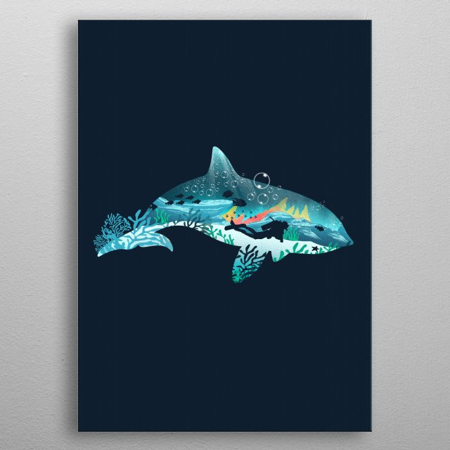 Dolphin Diver metal poster