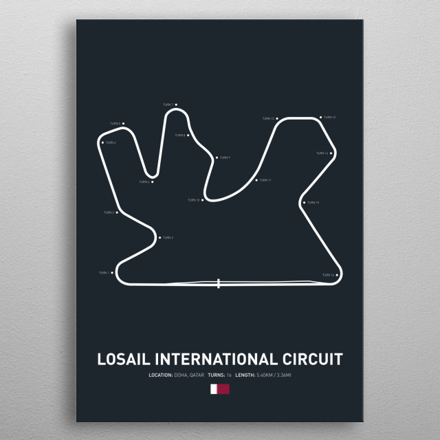 Losail International a circuit in Qatar on the 2018 MotoGP calendar. metal poster