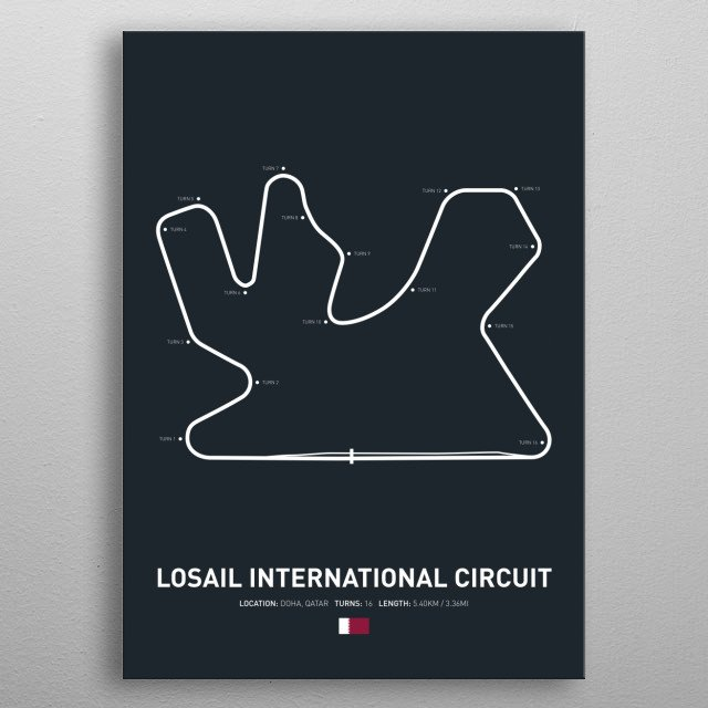 Losail International a circuit in Qatar on the 2018 MotoGP calendar. metal poster