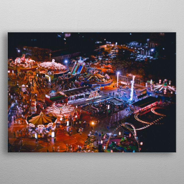 Aerial photography view from above fun fair at night metal poster