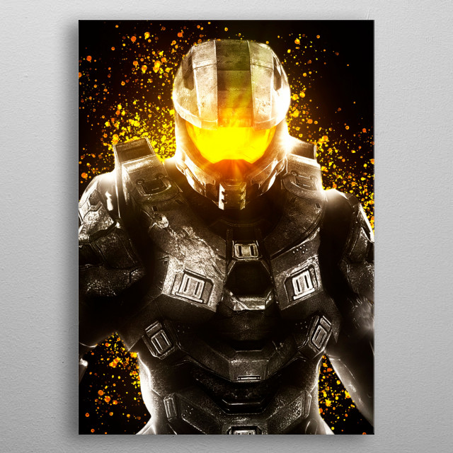 Master Chief or John 117, Halo series by Microsoft Xbox. metal poster