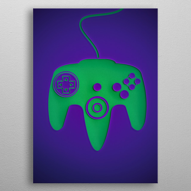 64 Controller PaperCut Style  metal poster