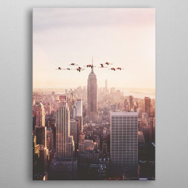 FLAMINGOS IN NEW YORK metal poster