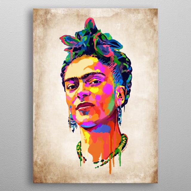 Frida Kahlo. Digital Art by Karoll William metal poster