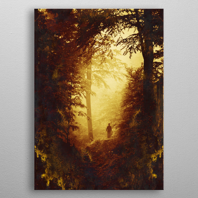 Figure standing on a misty forest clearing  metal poster