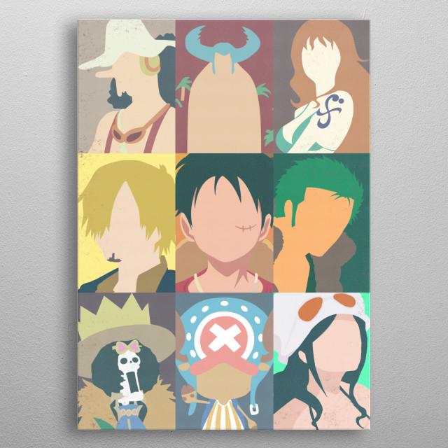 One Piece minimal design. Straw hat pirates. metal poster