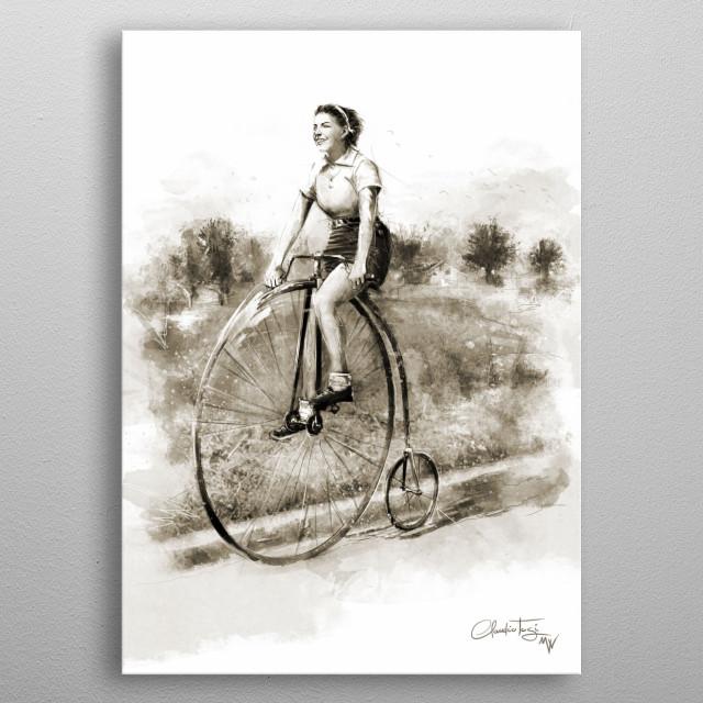 Woman on Bicycle metal poster