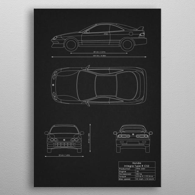 Honda Integra Type R CS2 metal poster