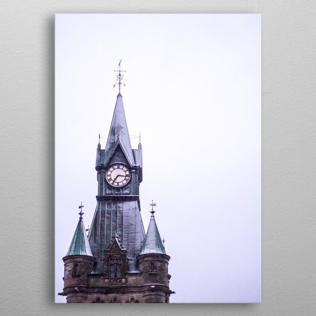 It was quarter past seven and it snowed a little. On my walk home from a shop I looked at the tower to see what time it was. Had to return. metal poster