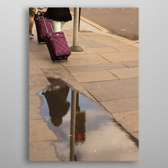 Purple on wheels arrived to the city.  I saw them walking towards the puddle and I knew exactly what to do. metal poster