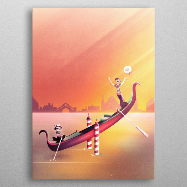 A venice gondola seesaw right in the venetian water. There is a funny winner gondolier and a loser gondolier. Can you see the Rialto Bridge as a silhouette? This Italian wall art goes out to Venice lovers and everyone who loves weird motifs.  metal poster