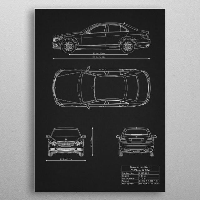 Mercedes-Benz C-Class W204 metal poster