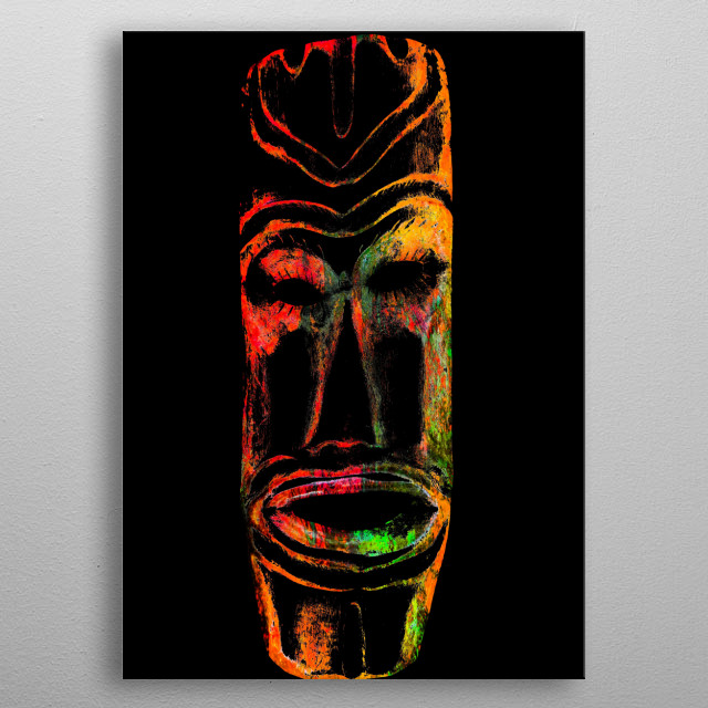 abstract mask on black metal poster